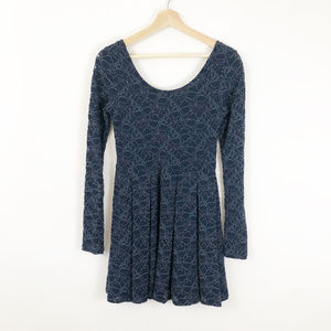 Free People Low back Navy Lace Long Sleeve Dress
